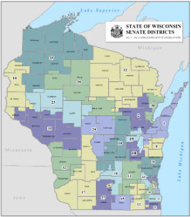 Senators By State Map.Wisconsin Senate District Map Bnhspine Com
