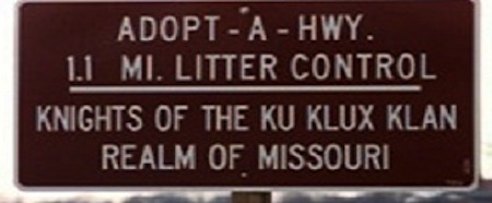 Adopt-A-Highway sign crediting 'Knights of the Ku Klux Klan'