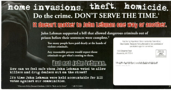 Republican direct mail piece in Wisconsin SD-21