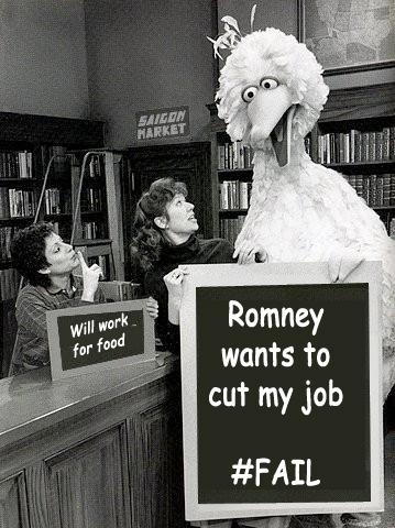 Romney wants to fire Big Bird