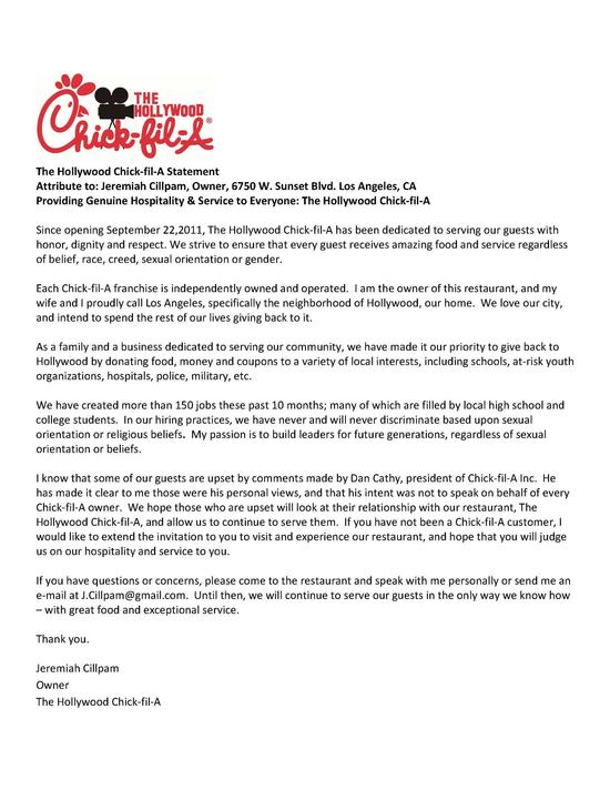 Form letter from Chick-Fil-A