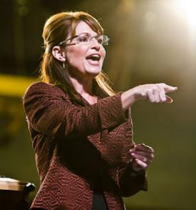Sarah Palin, pointing her finger