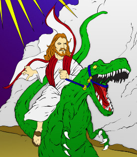 Illustration of Jesus riding a dinosaur