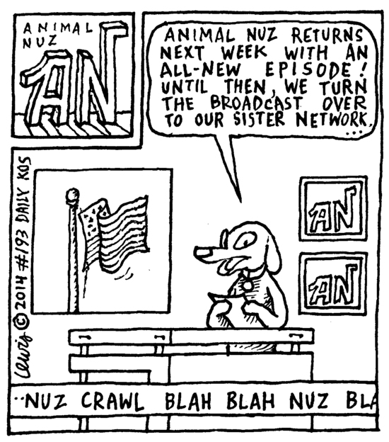 Animal Nuz comic 193 by Eric Lewis panel 1 ink only