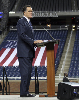 Mitt Romney with empty seats at Ford Field