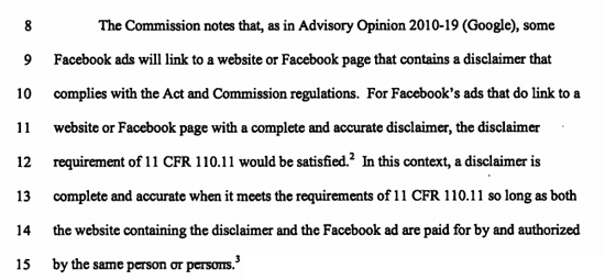 FEC Facebook Political Ads Must Include Or Link To Full Disclaimer
