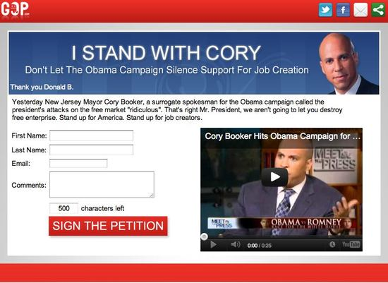 Image of RNC Website Petition Page