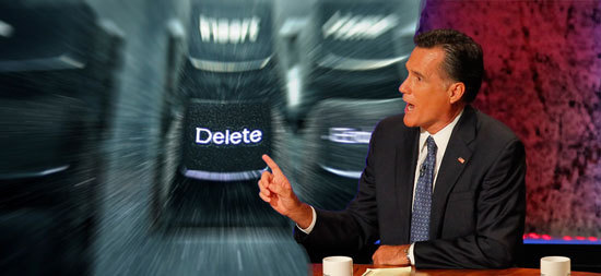 Mitt Romney hits the delete button