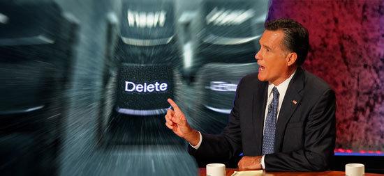Mitt Romney hits the delete button