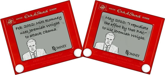 Etch a Sketch showing Romney flip-flopping on Jeremiah Wright attacks