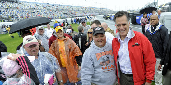Mitt Romney says these NASCAR fans are wearing garbage bags (Reuters photo)