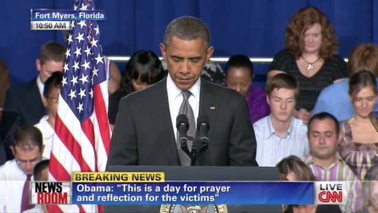 President Obama asking for a moment of silence a short time ago in Fort Myers, Florida at what was scheduled to be a campaign rally but instead turned into a venue for the president to address the tragic shooting in Aurora, Colorado