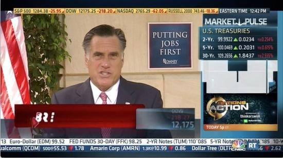Screenshot of Mitt Romney on CNBC