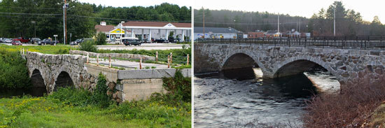 Before and after photo showing improvements to Sawyer Bridge in Hillsborough, New Hampshire