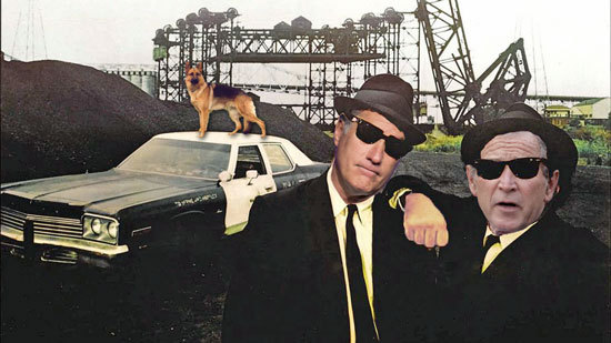 Blues Brothers movie poster with Romney and Bush photoshopped into Akroyd and Belushi's places. With a dog on the car's roof.