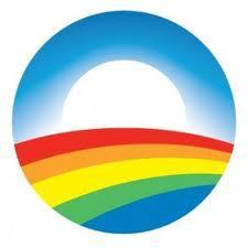 Rainbow-colored Obama logo