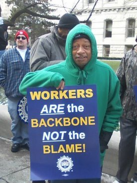 union member outside IN statehouse