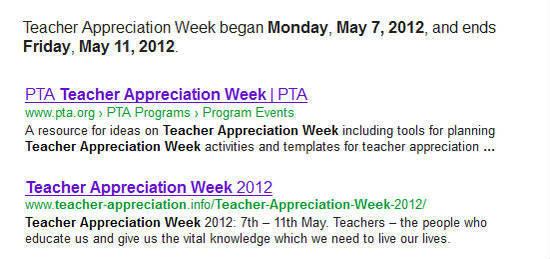 Teacher appreciation week google results