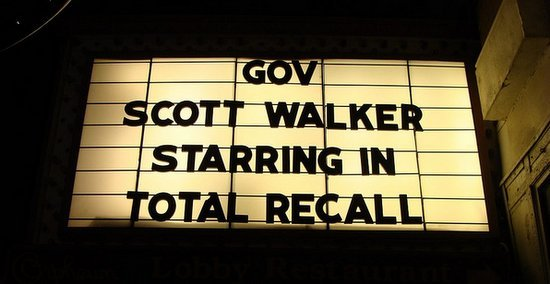 Gov Scott Walker starring in total recall marquee