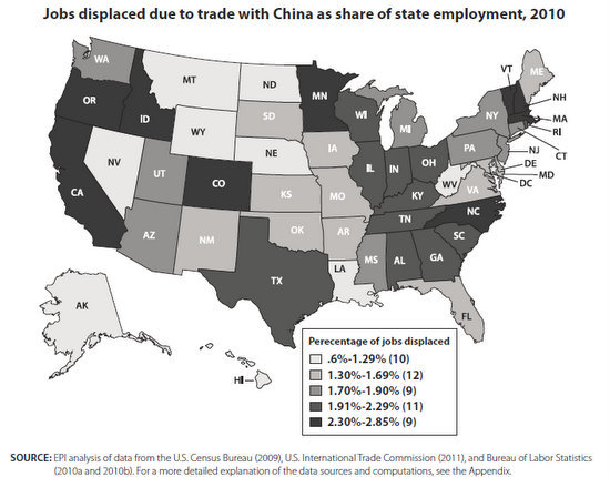 jobs lost to China map