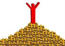 person on pile of dollar signs