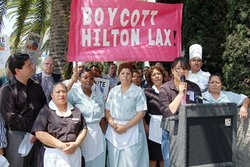 Hilton LAX workers rallying