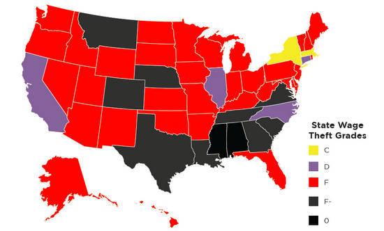 map grading states on wage theft protections