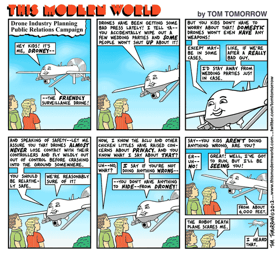Tom Tomorrow cartoon about drones