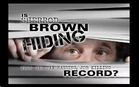Screen capture of attack ad against Sherrod Brown