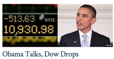 Obama talks, Dow drops