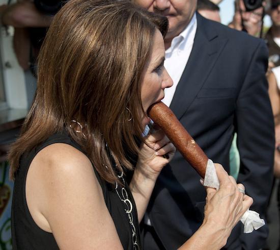 Michele Bachmann eats corndog