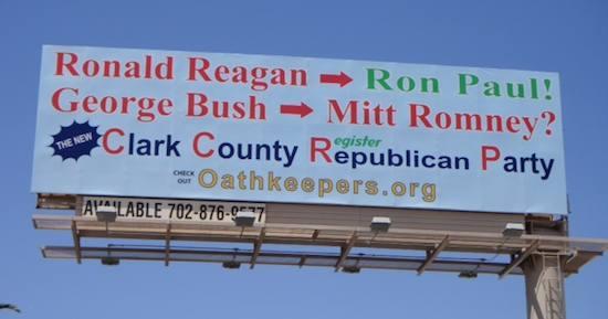 Clark Country GOP billboard: Ronald Reagan -> Ron Paul! George Bush -> Mitt Romney?