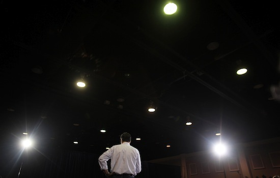 Romney speaks to near-empty room