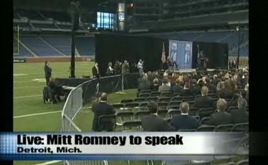empty seats at Mitt Romney Ford Field speech