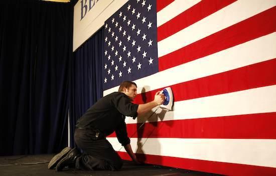 US flag, Iowa caucus night