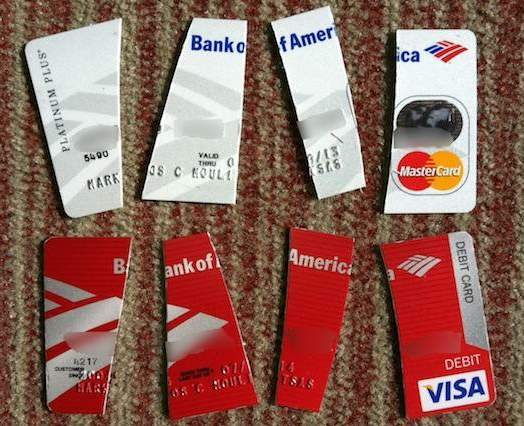 chopped up Bank of America cards