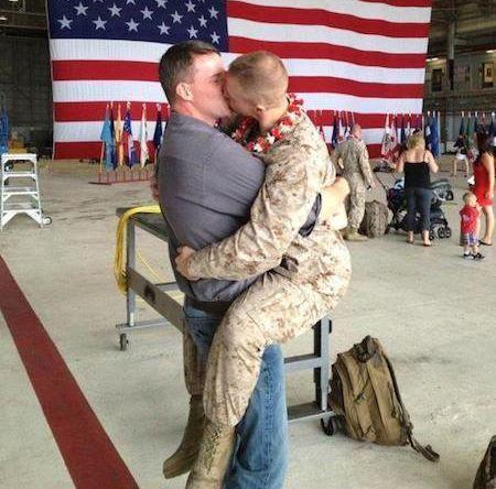 Gay marines homecoming kiss
