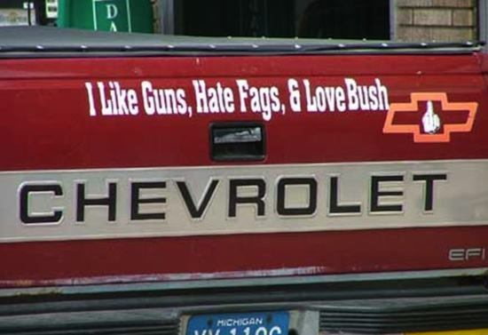 Written on back of truck: