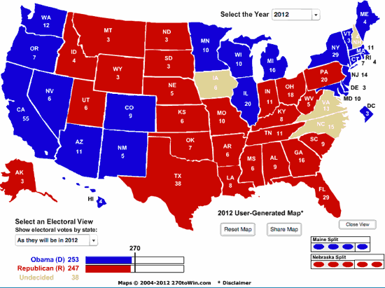 Base EV map with Obama winning NV, AZ, NM, CO, Romney winning OH, PA, and FL: Obama 253, Romney 247