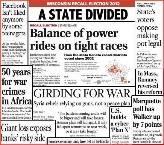 newspaper headline collage