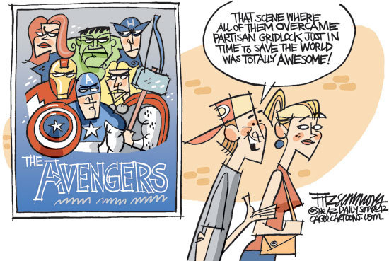 cartoon: the avengers save the country from gridlock