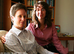 Karen Golinski (right) with her wife, Amy Cunninghis