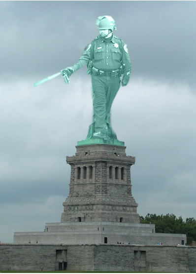 Correction officer superposed on top of Statue of Liberty Foundation building