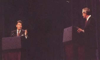 Ronald Reagan debates Walter Mondale in 1984