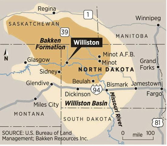 Map of North Dakota's Bakken Oil Fields