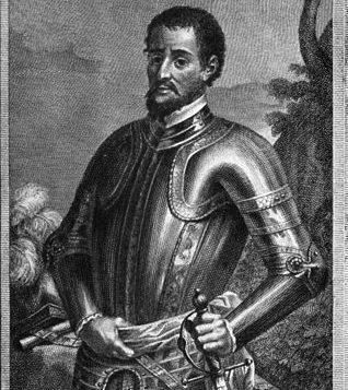 portrait of Hernando de Soto in armor