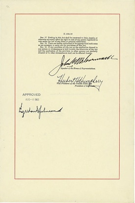 LBJ's signature on the Voting Rights Act