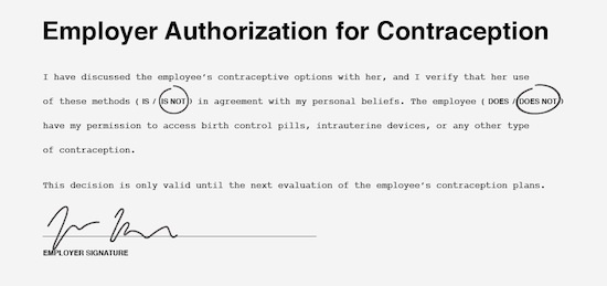 birth control permission slip