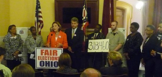Fair Elections Ohio announcing its successful petition effort