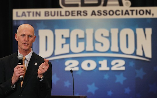 Republican Florida Governor Scott speaks at a meeting of the Latin Builders Association in Miami